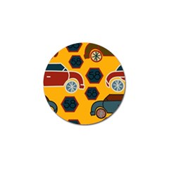 Husbands Cars Autos Pattern On A Yellow Background Golf Ball Marker