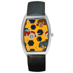 Husbands Cars Autos Pattern On A Yellow Background Barrel Style Metal Watch