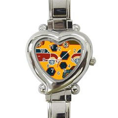 Husbands Cars Autos Pattern On A Yellow Background Heart Italian Charm Watch