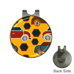Husbands Cars Autos Pattern On A Yellow Background Hat Clips with Golf Markers