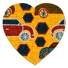 Husbands Cars Autos Pattern On A Yellow Background Jigsaw Puzzle (heart)