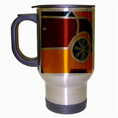 Husbands Cars Autos Pattern On A Yellow Background Travel Mug (Silver Gray)