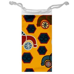 Husbands Cars Autos Pattern On A Yellow Background Jewelry Bag