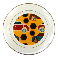 Husbands Cars Autos Pattern On A Yellow Background Porcelain Plates