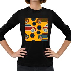 Husbands Cars Autos Pattern On A Yellow Background Women s Long Sleeve Dark T-Shirts