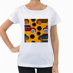 Husbands Cars Autos Pattern On A Yellow Background Women s Loose Fit T Shirt (white)
