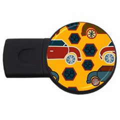 Husbands Cars Autos Pattern On A Yellow Background USB Flash Drive Round (4 GB)