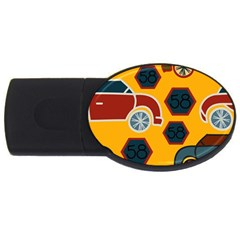 Husbands Cars Autos Pattern On A Yellow Background USB Flash Drive Oval (4 GB)