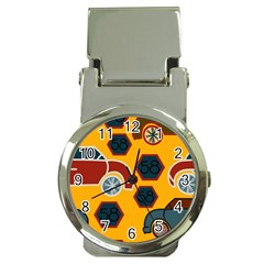 Husbands Cars Autos Pattern On A Yellow Background Money Clip Watches