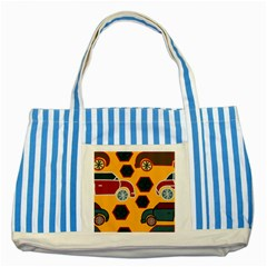 Husbands Cars Autos Pattern On A Yellow Background Striped Blue Tote Bag