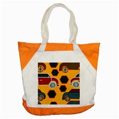 Husbands Cars Autos Pattern On A Yellow Background Accent Tote Bag