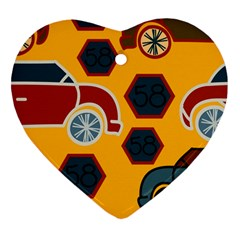 Husbands Cars Autos Pattern On A Yellow Background Heart Ornament (Two Sides)