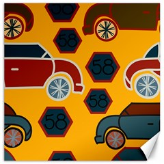 Husbands Cars Autos Pattern On A Yellow Background Canvas 12  x 12