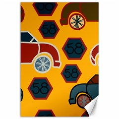 Husbands Cars Autos Pattern On A Yellow Background Canvas 12  X 18
