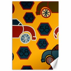 Husbands Cars Autos Pattern On A Yellow Background Canvas 20  x 30