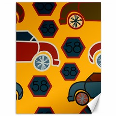 Husbands Cars Autos Pattern On A Yellow Background Canvas 36  X 48