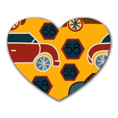 Husbands Cars Autos Pattern On A Yellow Background Heart Mousepads