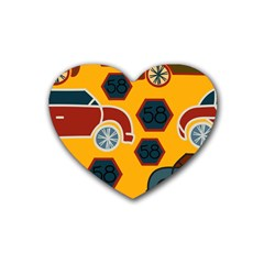 Husbands Cars Autos Pattern On A Yellow Background Rubber Coaster (Heart)