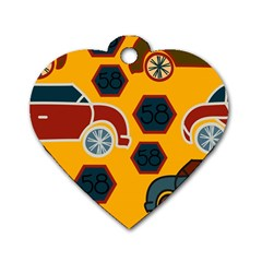 Husbands Cars Autos Pattern On A Yellow Background Dog Tag Heart (Two Sides)