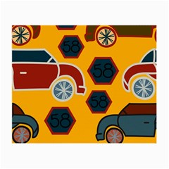 Husbands Cars Autos Pattern On A Yellow Background Small Glasses Cloth (2 Side)