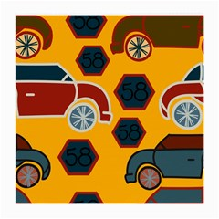 Husbands Cars Autos Pattern On A Yellow Background Medium Glasses Cloth (2-Side)