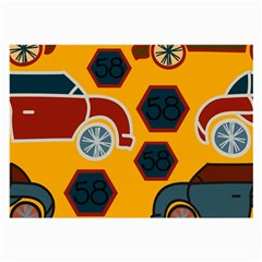 Husbands Cars Autos Pattern On A Yellow Background Large Glasses Cloth (2-Side)
