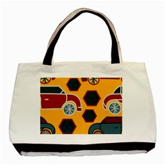 Husbands Cars Autos Pattern On A Yellow Background Basic Tote Bag (two Sides)