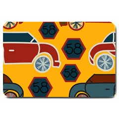 Husbands Cars Autos Pattern On A Yellow Background Large Doormat