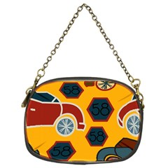 Husbands Cars Autos Pattern On A Yellow Background Chain Purses (Two Sides)