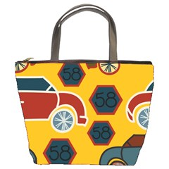 Husbands Cars Autos Pattern On A Yellow Background Bucket Bags