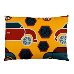Husbands Cars Autos Pattern On A Yellow Background Pillow Case