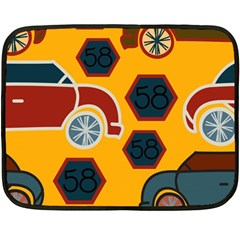Husbands Cars Autos Pattern On A Yellow Background Fleece Blanket (mini)