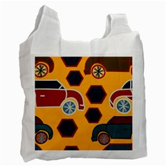 Husbands Cars Autos Pattern On A Yellow Background Recycle Bag (Two Side)