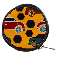Husbands Cars Autos Pattern On A Yellow Background Mini Makeup Bags