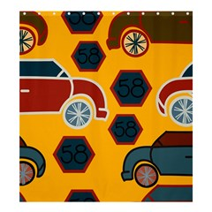 Husbands Cars Autos Pattern On A Yellow Background Shower Curtain 66  x 72  (Large)
