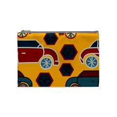 Husbands Cars Autos Pattern On A Yellow Background Cosmetic Bag (Medium)
