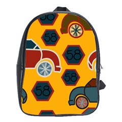 Husbands Cars Autos Pattern On A Yellow Background School Bags(Large)
