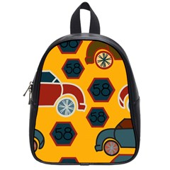 Husbands Cars Autos Pattern On A Yellow Background School Bags (Small)