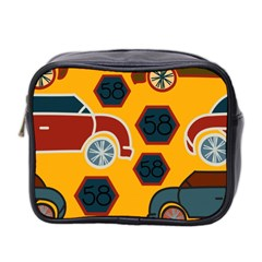 Husbands Cars Autos Pattern On A Yellow Background Mini Toiletries Bag 2-Side