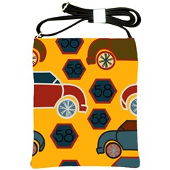 Husbands Cars Autos Pattern On A Yellow Background Shoulder Sling Bags