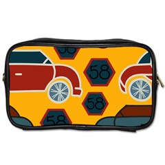 Husbands Cars Autos Pattern On A Yellow Background Toiletries Bags