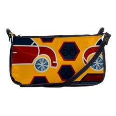 Husbands Cars Autos Pattern On A Yellow Background Shoulder Clutch Bags