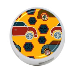 Husbands Cars Autos Pattern On A Yellow Background 4 Port Usb Hub (one Side)