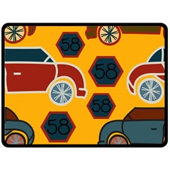 Husbands Cars Autos Pattern On A Yellow Background Fleece Blanket (Large)