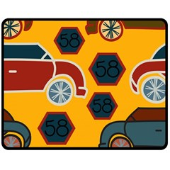 Husbands Cars Autos Pattern On A Yellow Background Fleece Blanket (Medium)