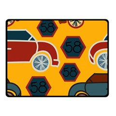 Husbands Cars Autos Pattern On A Yellow Background Fleece Blanket (Small)