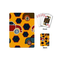 Husbands Cars Autos Pattern On A Yellow Background Playing Cards (Mini)