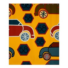 Husbands Cars Autos Pattern On A Yellow Background Shower Curtain 60  x 72  (Medium)