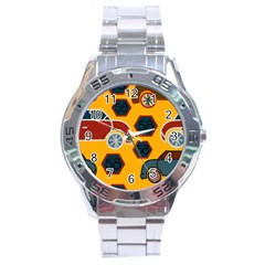 Husbands Cars Autos Pattern On A Yellow Background Stainless Steel Analogue Watch