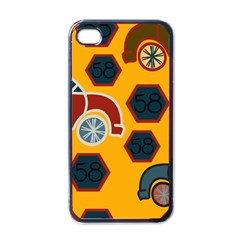 Husbands Cars Autos Pattern On A Yellow Background Apple Iphone 4 Case (black)